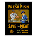 Compre el vintage WW1 de los pescados frescos Posters