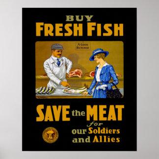 Compre el vintage WW1 de los pescados frescos Póster