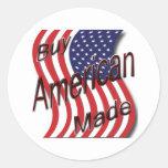 Compre la onda hecha americano pegatina redonda
