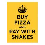 Compre la pizza y la paga con las serpientes - gua tarjeta postal