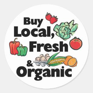 Compre local fresco y orgánico pegatinas