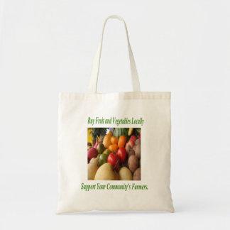 Compre localmente la ayuda los granjeros de su com bolsa de mano