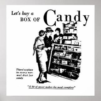 Compremos una caja de impresión del caramelo posters