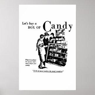Compremos una caja del anuncio 1930 del caramelo poster