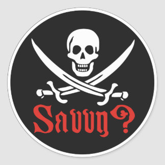 Comprensión del pirata pegatinas redondas