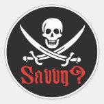 Comprensión del pirata pegatina redonda