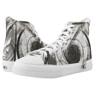 Compromise-Black and Gray Abstract Brushstrokes High-Top Sneakers