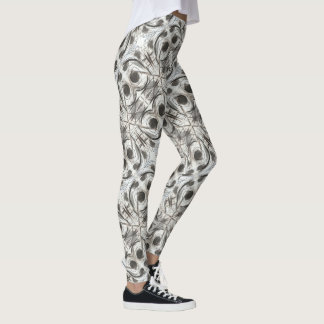 Compromise-Black and Gray Abstract Brushstrokes Leggings