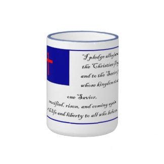 Compromiso a la bandera cristiana tazas de café