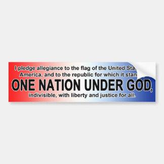 Compromiso americano de la lealtad una nación deba pegatina de parachoque