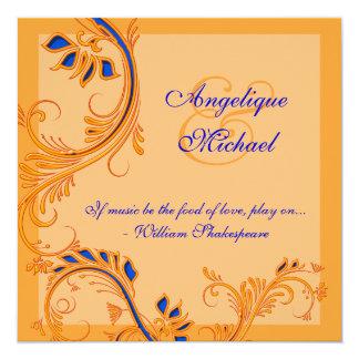 """Compromiso anaranjado azul del aniversario de boda invitación 5.25"""" x 5.25"""""""