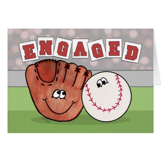 COMPROMISO Annoucement del mitón y del béisbol del Tarjeta De Felicitación
