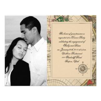 Compromiso antiguo del boda del mapa de Viejo Invitación