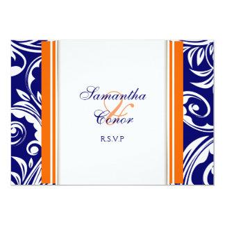 Compromiso blanco anaranjado azul del boda invitación 12,7 x 17,8 cm