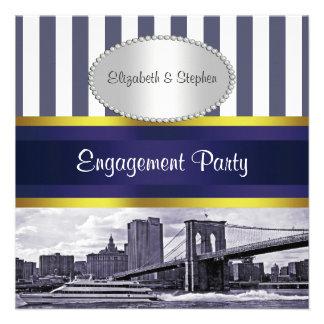 Compromiso blanco azul del puente de Brooklyn del  Invitación Personalizada