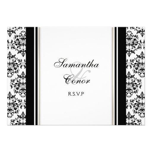 Compromiso blanco negro del boda del damasco