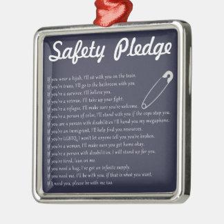 Compromiso de la seguridad adorno navideño cuadrado de metal