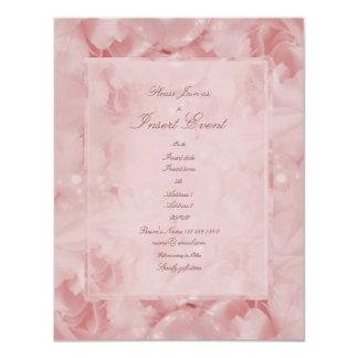 """Compromiso elegante del boda de las perlas rosadas invitación 4.25"""" x 5.5"""""""