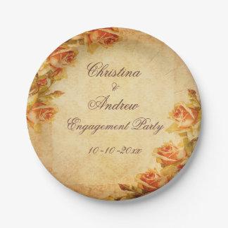 Compromiso elegante lamentable de los rosas del plato de papel de 7 pulgadas