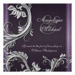 Compromiso floral de plata púrpura del boda anuncio personalizado