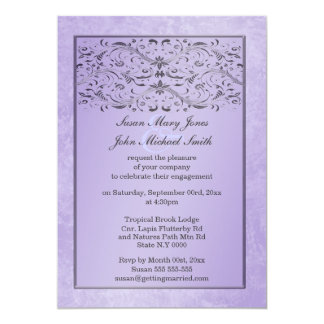 Compromiso gris púrpura del aniversario de boda invitación 12,7 x 17,8 cm