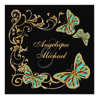 """Compromiso negro del boda de la mariposa del oro invitación 5.25"""" x 5.25"""""""