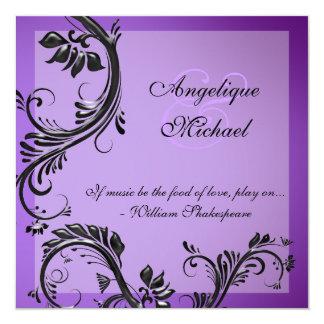 """Compromiso negro púrpura del aniversario de boda invitación 5.25"""" x 5.25"""""""