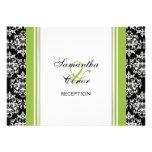 Compromiso verde blanco negro del boda del damasco invitaciones personalizada