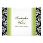 Compromiso verde blanco negro del boda del damasco comunicado personalizado