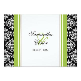 """Compromiso verde blanco negro del boda del damasco invitación 5"""" x 7"""""""