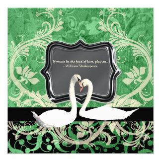 Compromiso verde negro elegante del vintage invitaciones personales
