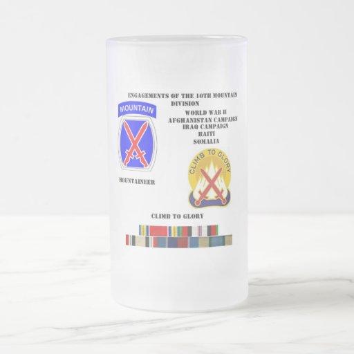 Compromisos de la 10ma división de la montaña tazas de café