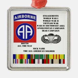 Compromisos de la 82.a división aerotransportada adorno cuadrado plateado