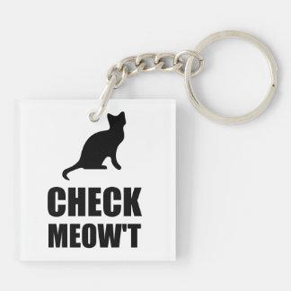 Compruebe el gato del maullido llavero cuadrado acrílico a doble cara