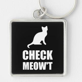 Compruebe el gato del maullido llavero cuadrado plateado