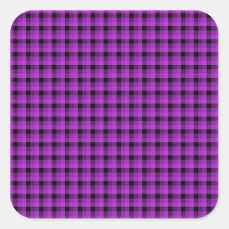 Compruebe el modelo. Púrpura y negro Pegatina Cuadrada