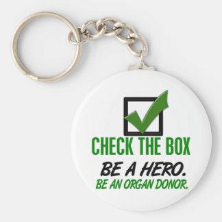 Compruebe la caja sea un donante de órganos 1 llavero redondo tipo pin