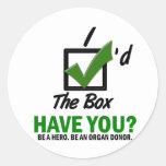 Compruebe la caja sea un donante de órganos 2 pegatina redonda
