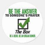 Compruebe la caja sea un donante de órganos 3 etiquetas redondas