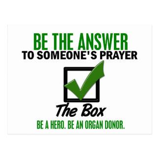 Compruebe la caja sea un donante de órganos 3 tarjetas postales