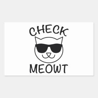 ¡Compruebe Meowt! Pegatina Rectangular