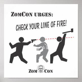 ¡Compruebe su línea de fuego! Posters