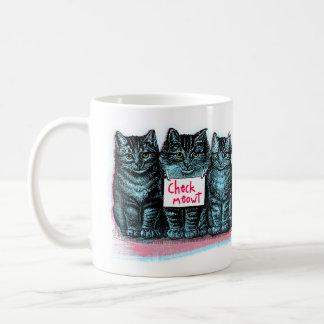 """""""Compruebe taza del gato azul del vintage de"""