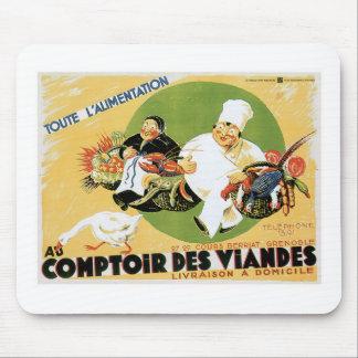 Comptoir Des Viandes Vintage Food Ad Art Mouse Pad