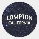 Compton California Pegatina Redonda