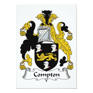 """Compton Family Crest 5"""" X 7"""" Invitation Card"""