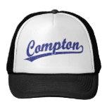 Compton script logo in blue mesh hats