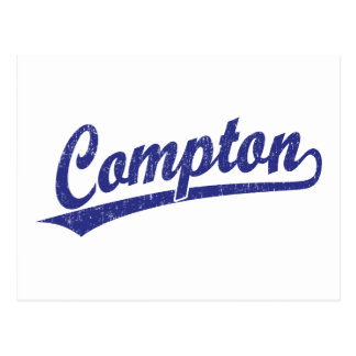 Compton script logo in blue postcard