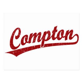 Compton script logo in red postcard