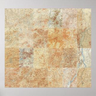 Compuesto de 24 mapas topográficos de Adirondack Impresiones